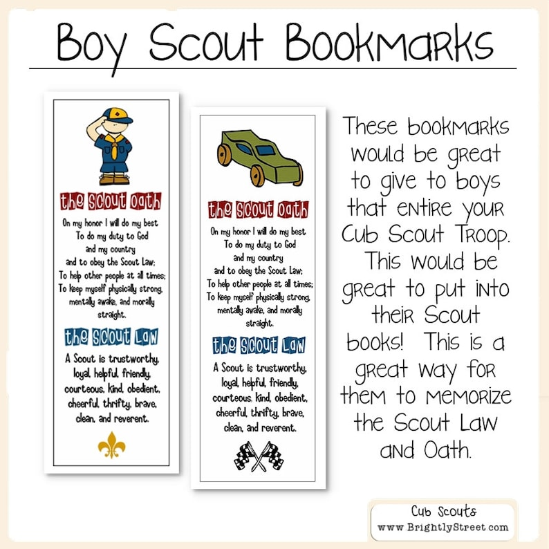 image regarding Cub Scout Oath Printable named Cub Scouts Regulation and Oath Bookmarks