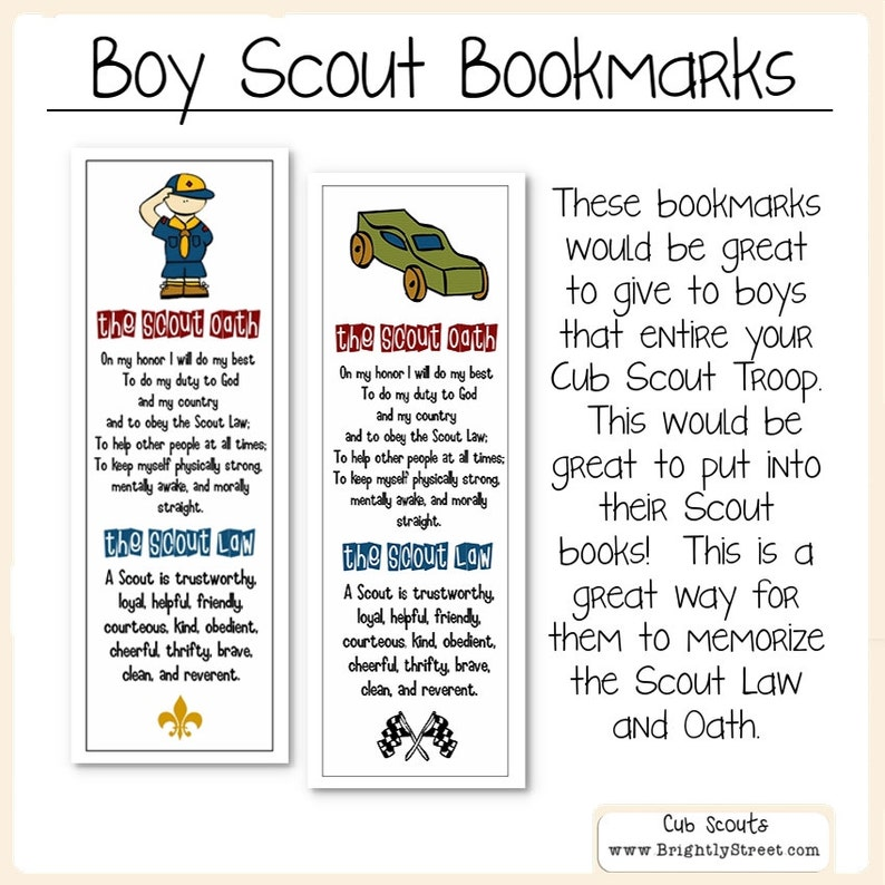 photo regarding Cub Scout Oath and Law Printable known as Cub Scouts Legislation and Oath Bookmarks
