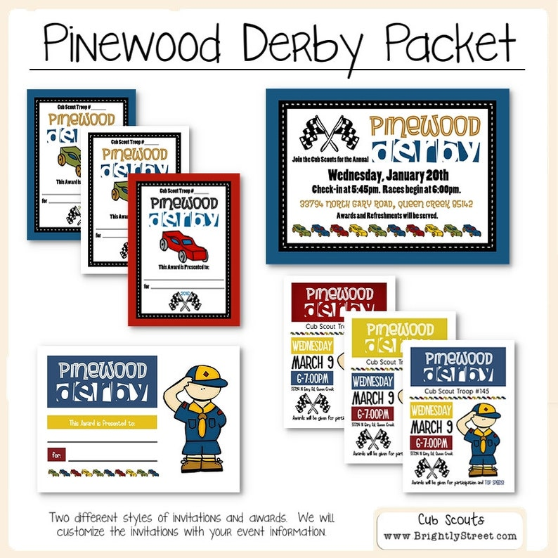 Cub Scouts Pinewood Derby Invitations And Awards Etsy