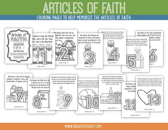 Articles Of Faith Coloring Pages Etsy
