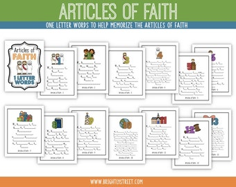 Articles of Faith One Letter Words MEMORIZE them all!!