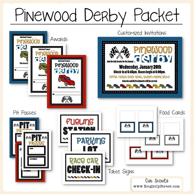 Cub Scouts Pinewood Derby Packet Etsy