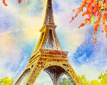 Paris Eiffel Tower Landscape Watercolor Canvas W Gallery Wrap Ready To Hang Up To Size 91X60X3.8 Centimeters