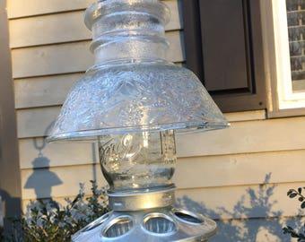 Hanging Glass Bird feeder, Repurposed Glass, Garden Decor, Housewarming Gift, Mother's Day Gift