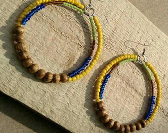 Beaded Hoop Earrings, Wood Earrings, Wood Bead Earrings, Glass Bead Earrings, African Earrings, Tribal Earrings, Ethnic Hoop Earrings