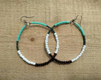 Beaded Hoop Earrings, Wood Bead Earrings, Wood Earrings, Natural Earrings, Glass Bead Earrings, Hoop Earrings, Ethnic Hoop Dangle Earrings
