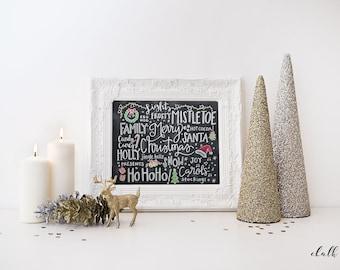 Christmas Chalkboard Print -  Christmas Words -  Christmas Decor - Merry Christmas -  Chalkboard Print - Chalk Art -  Holiday Print -