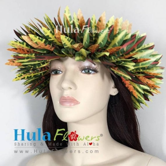 Silk Croton leaves Haku Headband for Hula or Tahitian Dancer  6bd1d2478ef