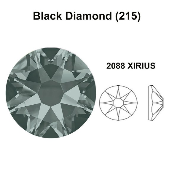 144 pcs Black Diamond 215 Swarovski 2058 Xilion// NEW 2088 Xirius 12ss Flat backs Rhinestones 3mm ss12
