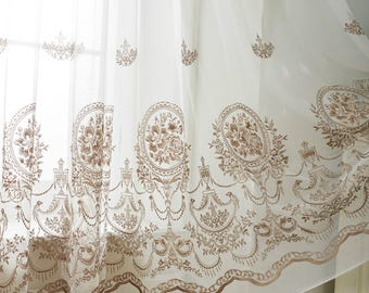 Two Rococo Style Sheer Curtains Custom Made To Order Up 104 L Embroidered Pattern On White Four Colors