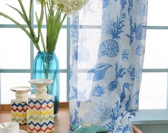 Two Custom White And Blue Nautical Sheer Curtains Made To Order Sea Beach Ocean Theme Starfish Seahorse Seashell Coral
