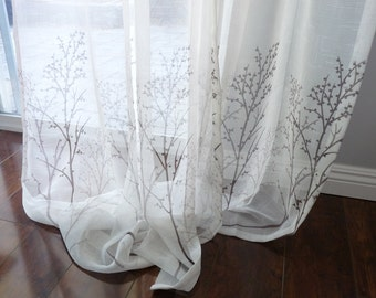 Off White Sheer Curtain Voile Panel With Printed Tree Pattern One Choose Width And Length Custom Made To Order Faux Linen