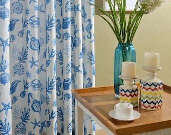 Two Custom White And Blue Nautical Curtains Made To Order Sea Beach Ocean Theme Starfish Seahorse Seashell Coral