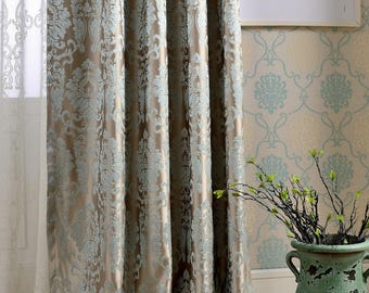 Image result for BLUE GREY BROCADE CURTAINS