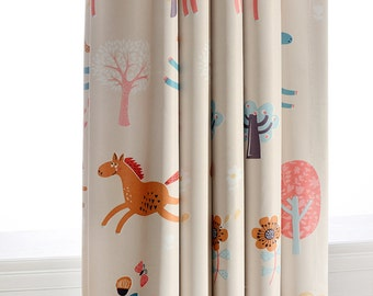Attractive Two Pony Print Grommet Window Curtain Panels Drapes Curtains. Light  Blocking Nursery Kids Room Curtains. Beige Or Blue   Running Horses