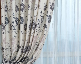 A Pair Of Two Color Floral Print Curtains Made To Order Up 102L Patterns On Off White Polyester Cotton Blend