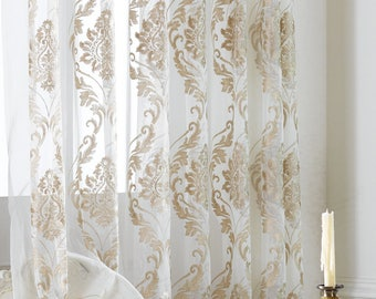Two Damask Sheer Curtains Custom Made To Order Embroidered Pattern On White Background Size Available Four Colors