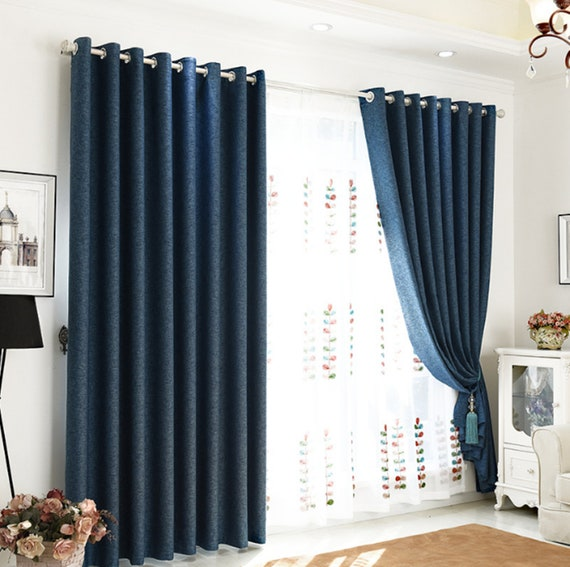 A Pair of Navy Blue Custom Curtain Panels. Triple Woven Fabric With Linen  Look. 80-90% Light Blocking. Bedroom Curtains.
