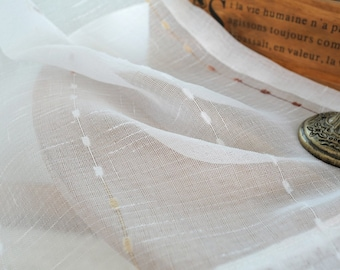 """A Pair of White Sheer Curtains Custom Made to Order Up To 100""""L. White, Yellow And Brown Chenille Dot Striped Pattern"""