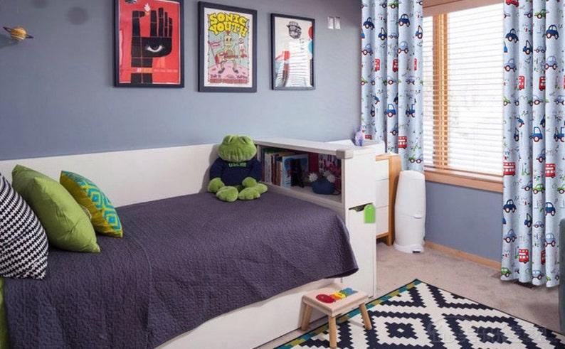 70-80/% Light Blocking Triple Woven Fabric A Pair of Custom Curtain Panels Made to Order Cartoon Car Print Kid/'s Room Baby Nursery Curtain