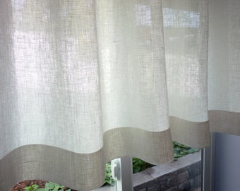 """100% Flax Linen - 38 Colors - Custom Cafe Curtain Made to Order. One Panel 50""""-51""""W. 100 Percent Pure Flax Linen Fabric.Custom Size."""