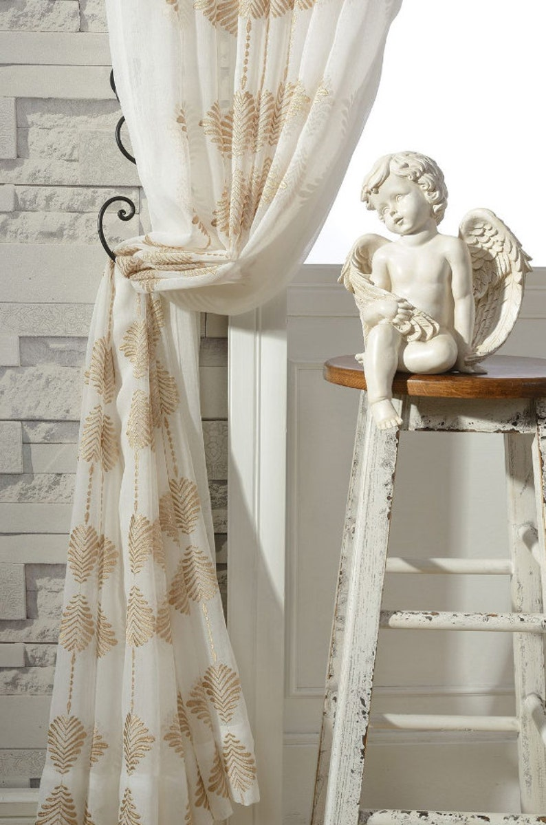 A Pair Of Gold Leaf Patterned Embroidey Sheer Curtains Made To Etsy