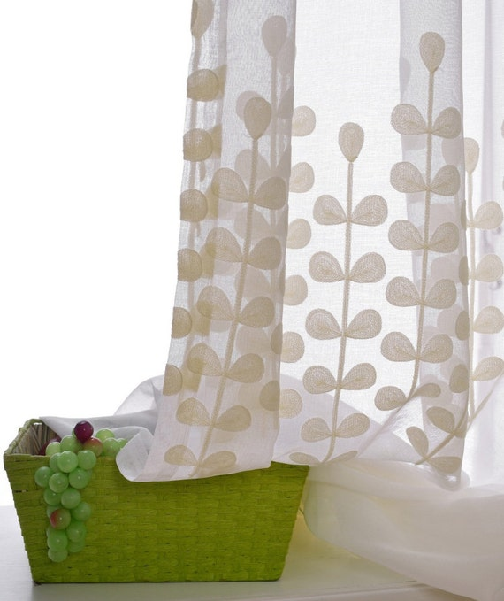 A Pair Of White Sheer Curtains Made To, Sheer Patterned Curtains Nz