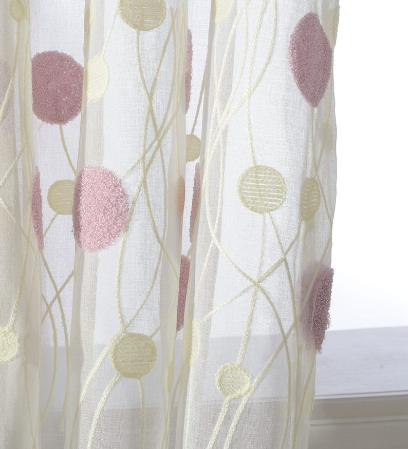 Soft White Background. Pinkish Purple Cream  Ivory Two Toned Balloon Dot Embroidery Sheer Curtain Made to Order Up to 104 Long