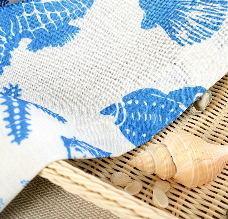 Sea Beach Ocean Theme Starfish Seahorse Seashell Coral. Two Custom White And Blue Nautical Curtains Made to Order