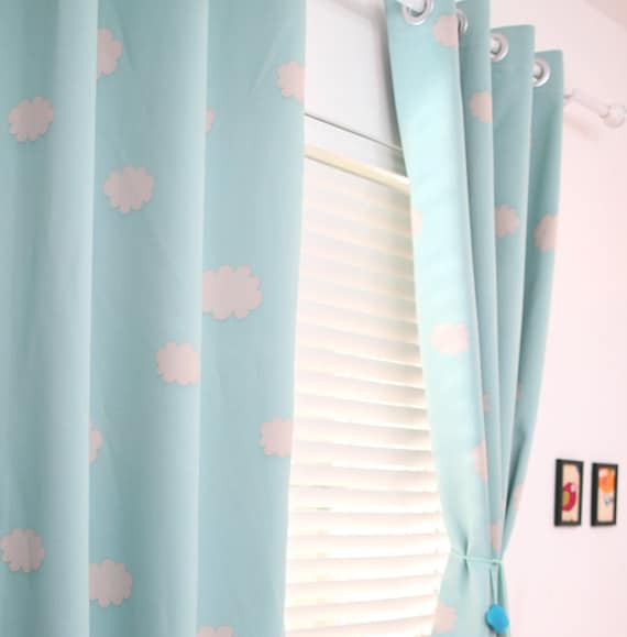 Two Grommet Top Blue Sky Clouds Curtains. Baby Nursery Curtain Or Toddler  Nap Curtain Bedroom Curtains Triple Woven Light Blocking Curtains