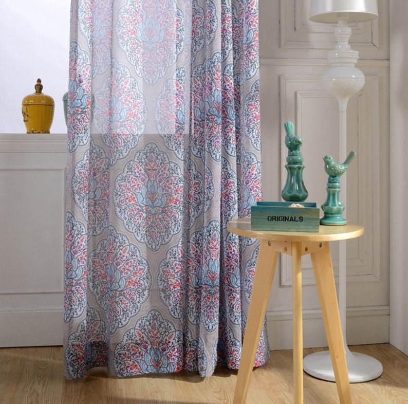 Choose Width and Length One or Two Panels Made To Order Custom Size Available. Sheer Curtain Voile Panel With Printed Floral Pattern
