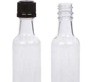 Set of 24 Mini 50ml Liquor Bottles Clear Plastic Alcohol Bottle w Black Cap - Great For Weddings, Party Favors &Events – Bonus Funnel
