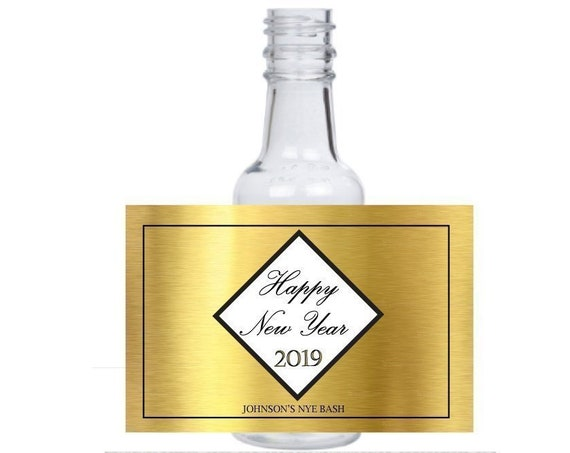 """12 personalized """"New Year's Eve"""" mini liquor bottles, caps, and labels for your NYE party"""