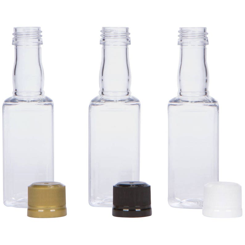 4184f5014f8e 12 Mini SQUARE Liquor Bottles small 50ml mini empty plastic mini alcohol  bottle shots + Caps (black, gold, white, silver) Active