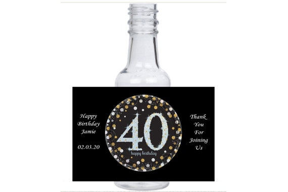 personalized 40th Birthday customized Celebration round mini liquor bottles, caps, and personalized labels