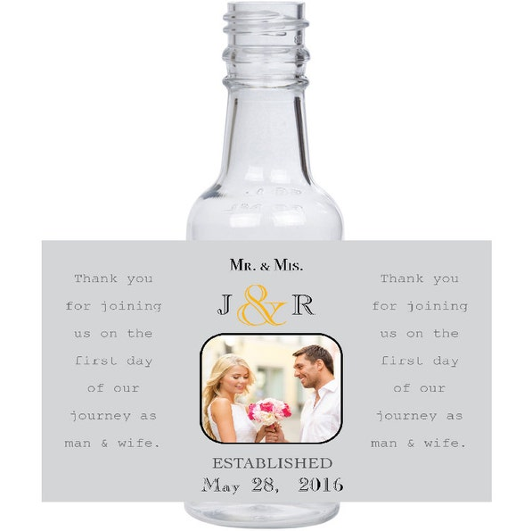 12 personalized Mr. & Mrs. Smith mini liquor bottles, caps, and labels for your wedding, engagement, or event party