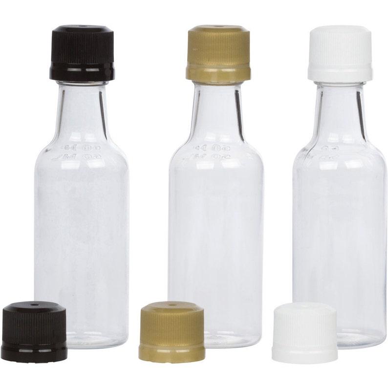 d3a3391534d0 12 Mini Liquor Bottles small 50ml mini empty plastic mini alcohol bottle  shots + Caps (black, gold, white)