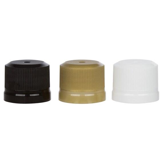 Tamper evident bottle caps mini liquor bottle caps 50 new Black, White, or Gold 18 Kerr 50ml