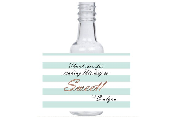 12 personalized welcome baby mini liquor bottles, caps, and labels for your event