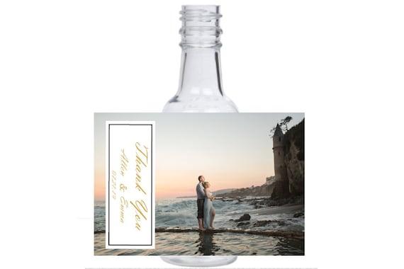 12 personalized Pre Wedding photo shoot beach view mini liquor bottles favors, caps, and labels