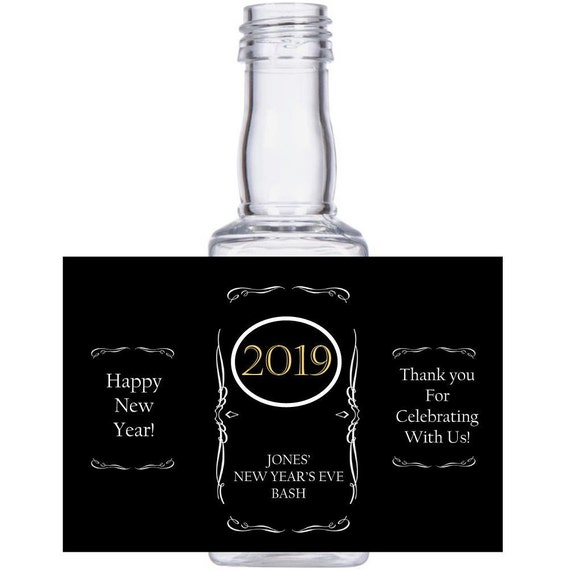 personalized New Year's Eve Celebration Square mini liquor bottles, caps, and custom labels for your NYE event party