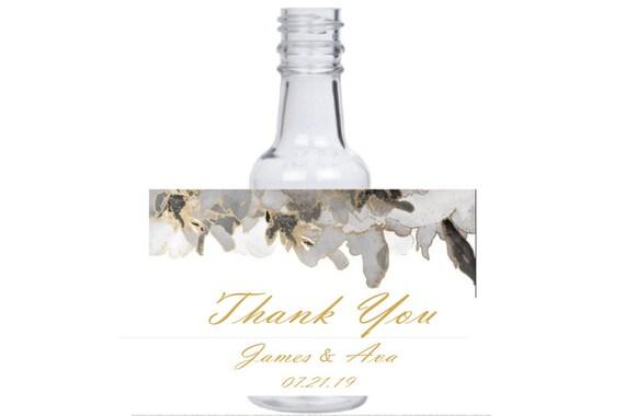 12 Elegant Gold Silver White Grey Black flower tile mini liquor bottle event favors glittery feather theme design