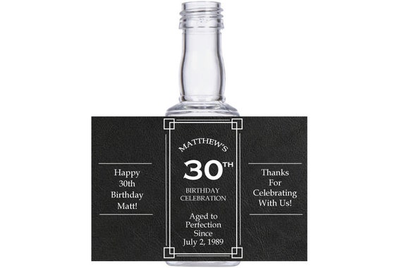 personalized 30th 40th 60th or 100th Birthday customized Celebration Square mini liquor bottles, caps, and personalized labels