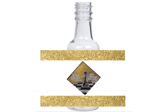 12 personalized Queen B Chess piece mini liquor bottles, caps, and labels for your event