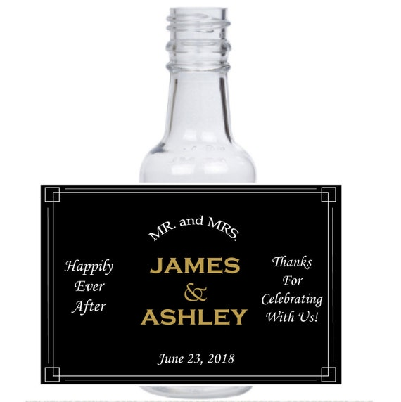 Personalized Happily Ever After mini liquor bottles, caps, and customized waterproof labels for your wedding, engagement, or event party