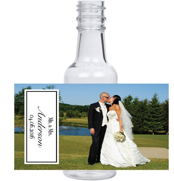 12 personalized Husband and Wife photo Wedding mini liquor bottles, caps, and labels for your wedding or engagement event favors