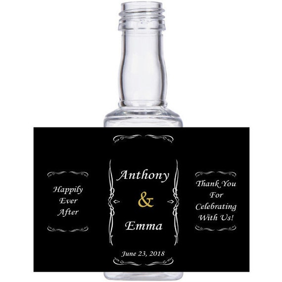 "personalized Square ""Happily Ever After""  mini liquor bottles, caps, wedding, engagement, or event party"