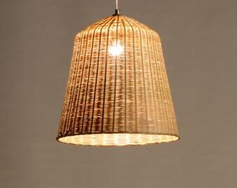 Große bambus und holz korb lampe deckenlampe hängelampe etsy