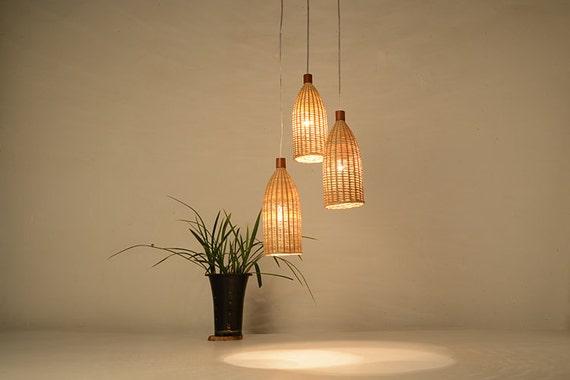 Bottle Shape Bamboo And Wood Pendant Lamp Ceiling Lamp Etsy