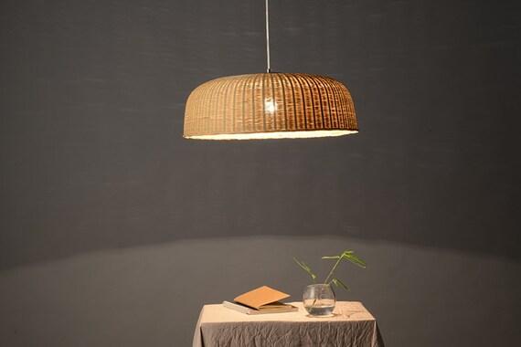 Riesen Korb Bambus Und Holz Deckenlampe Lampe Hangelampe Etsy